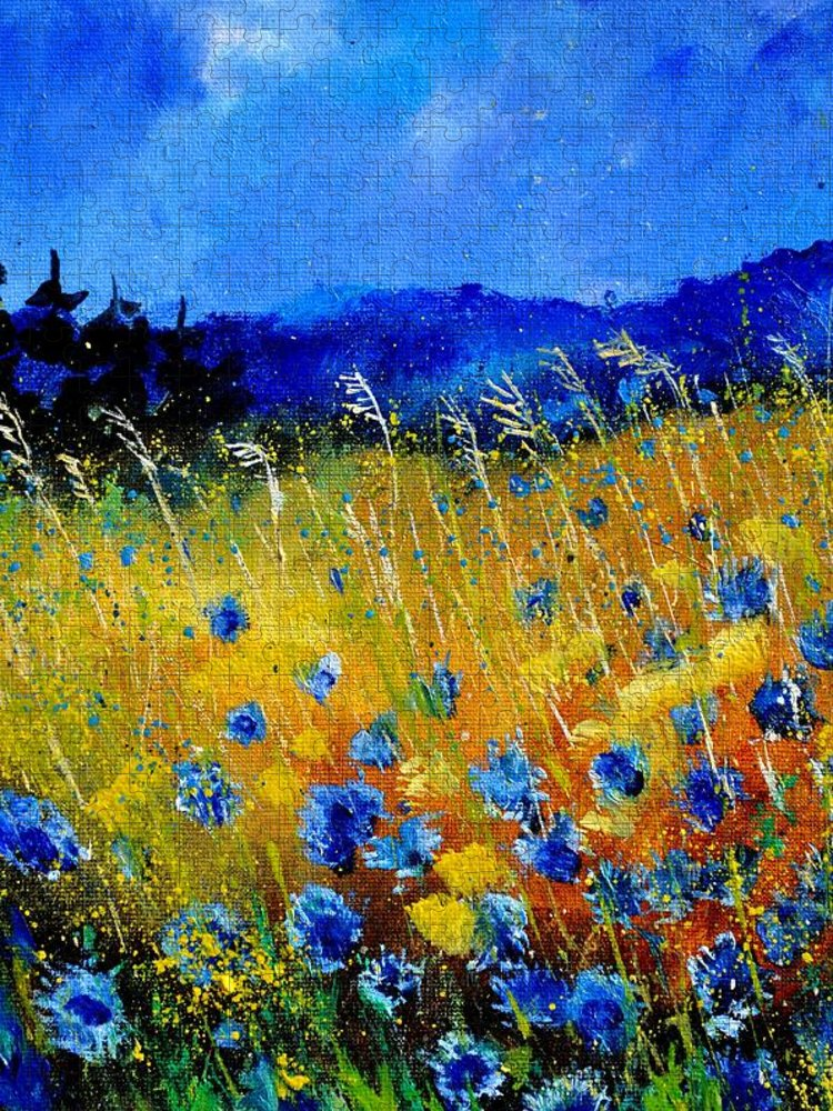 Flowers Puzzle featuring the painting Blue cornflowers by Pol Ledent