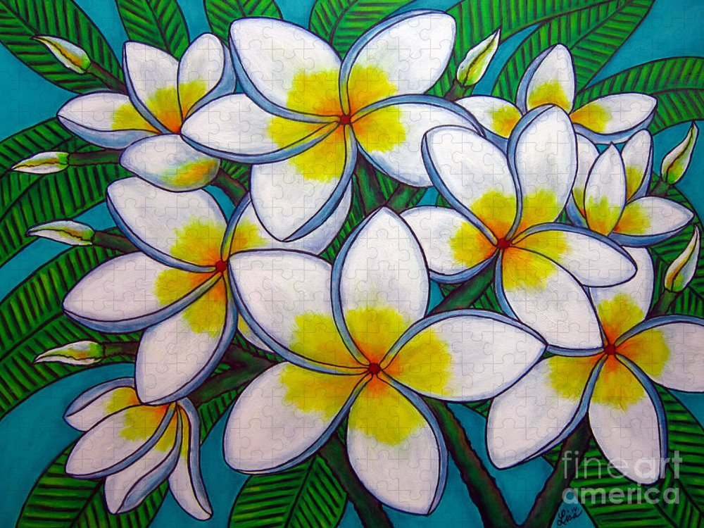 Frangipani Puzzle featuring the painting Caribbean Gems by Lisa Lorenz