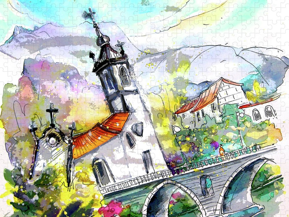 Portugal Puzzle featuring the painting Church in Ponte de Lima in Portugal by Miki De Goodaboom