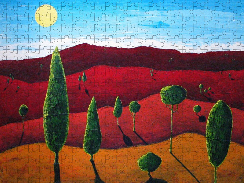Landscape Puzzle featuring the painting Hills of Red III by Rollin Kocsis