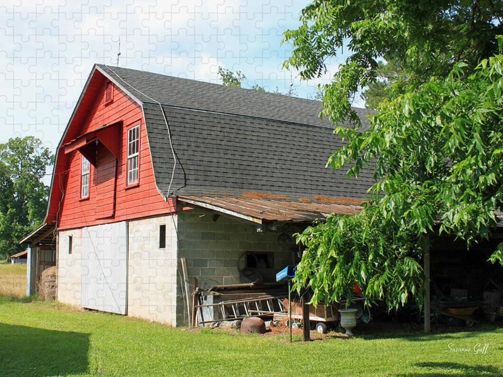 Barn Puzzle featuring the photograph Little Red Barn by Suzanne Gaff