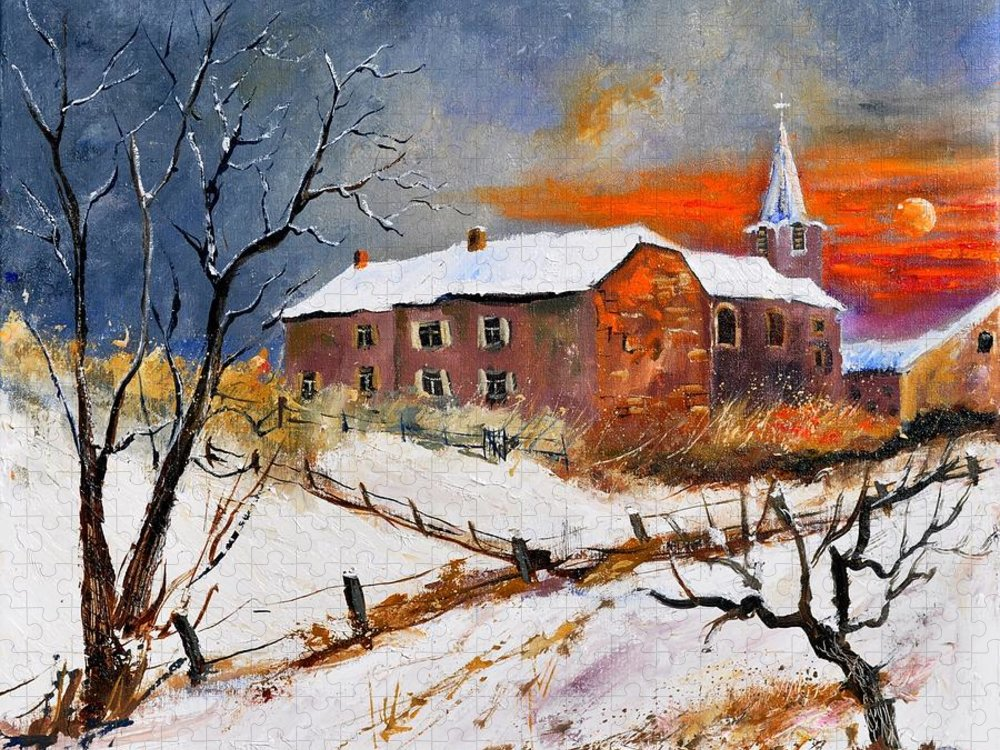 Landscape Puzzle featuring the painting Snow In Houyet by Pol Ledent