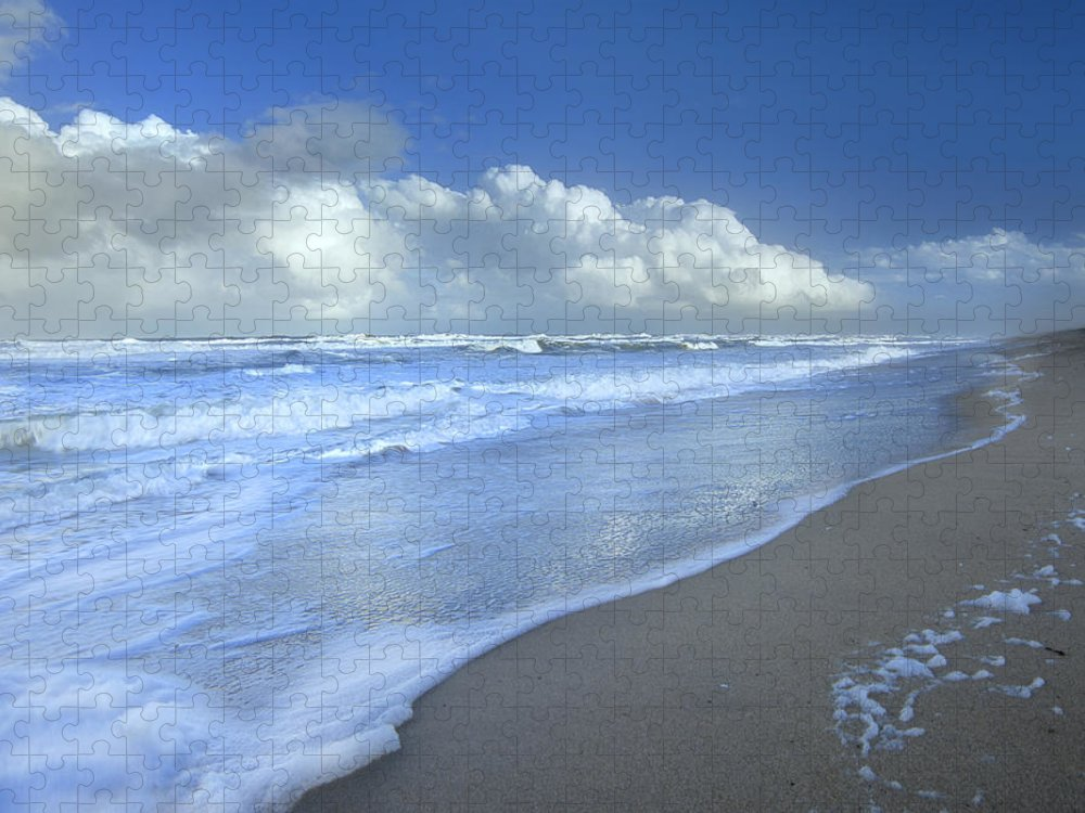 Mp Puzzle featuring the photograph Storm Cloud Over Beach, Canaveral by Tim Fitzharris