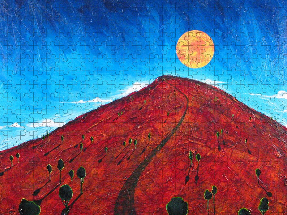 Landscape Puzzle featuring the painting Sun Over Red Hill by Rollin Kocsis