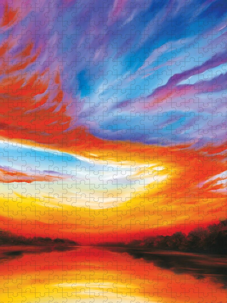 Sunrise; Sunset; Power; Glory; Cloudscape; Skyscape; Purple; Red; Blue; Stunning; Landscape; James C. Hill; James Christopher Hill; Jameshillgallery.com; Ocean; Lakes; Genesis; Creation; Quantom; Singularity Puzzle featuring the painting The Seventh Day by James Christopher Hill