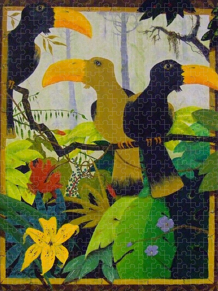 Jungle Puzzle featuring the painting Jungle Boogie by Patrick Trotter