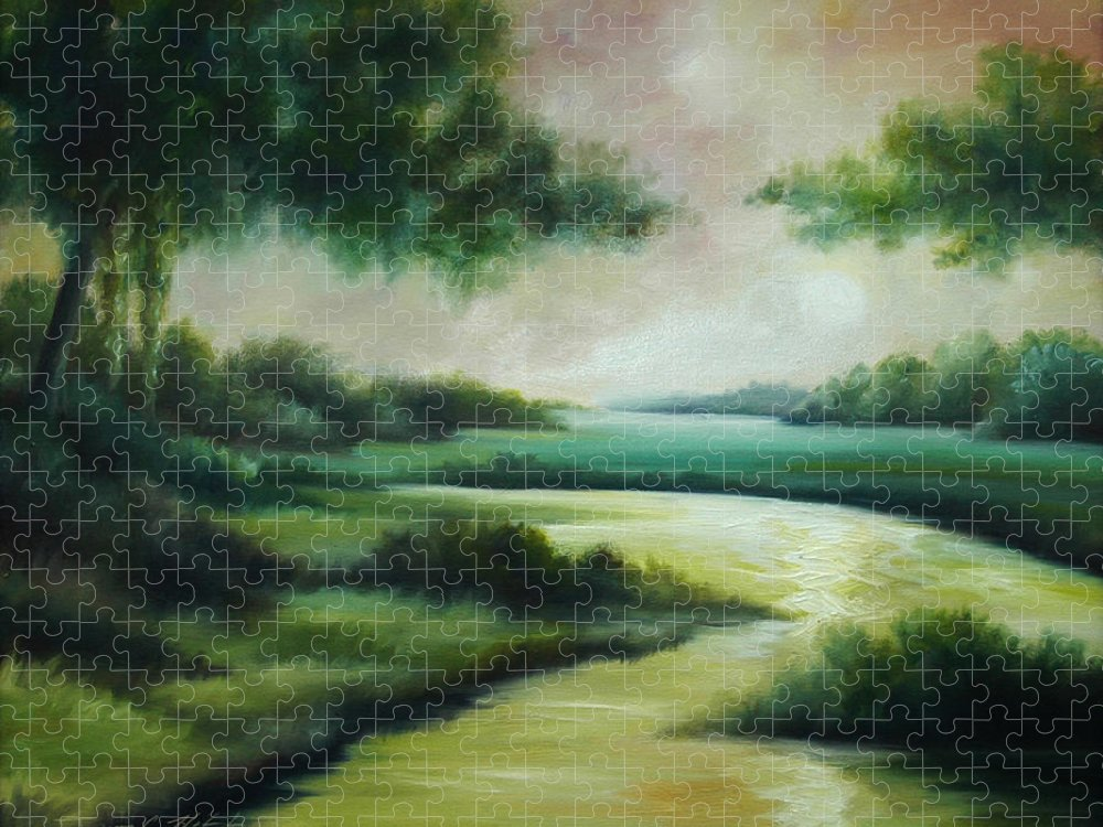 Bright Clouds; Sunsets; Reflections; Ocean; Water; Purple; Orange; Storms; Lightning; Contemporary; Abstract; Realism; James Christopher Hill; James Hill Studios; James C. Hilll; Forest; Flowers; Trees; Green; River; Water Puzzle featuring the painting Emerald Forest by James Christopher Hill
