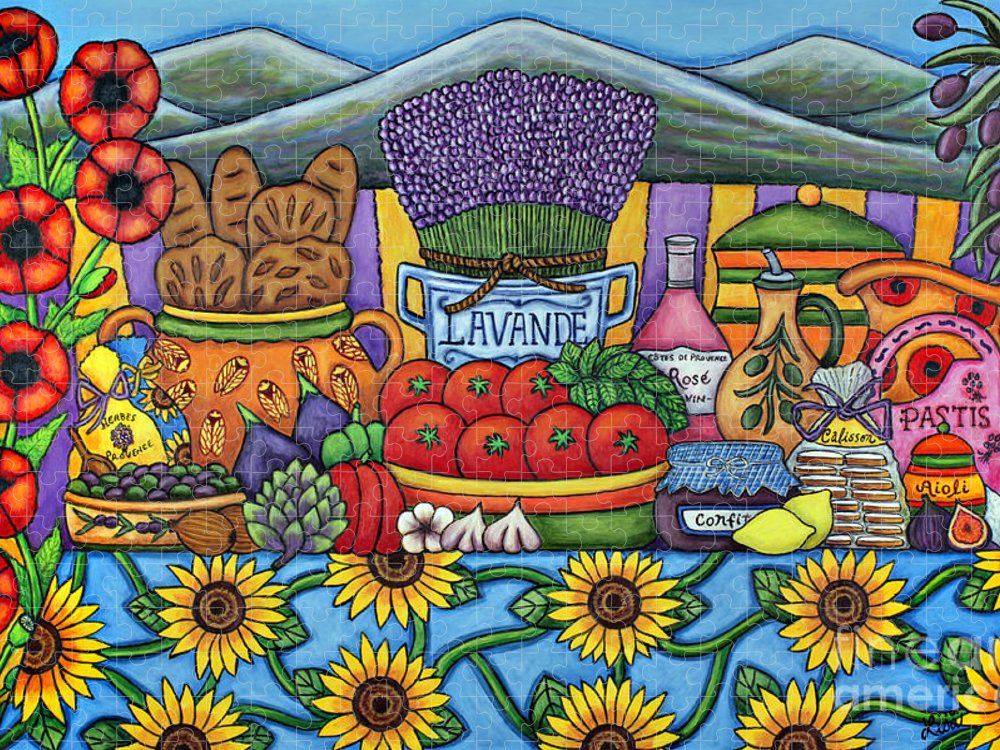 Provence Puzzle featuring the painting Flavours of Provence by Lisa Lorenz