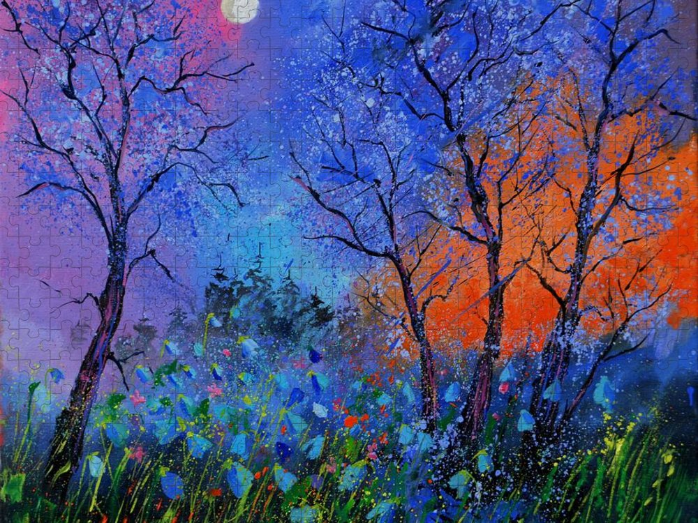 Landscape Puzzle featuring the painting Magic wood by Pol Ledent