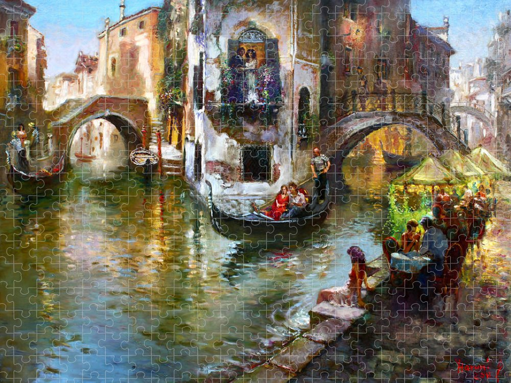 Romance In Venice Puzzle featuring the painting Romance in Venice by Ylli Haruni
