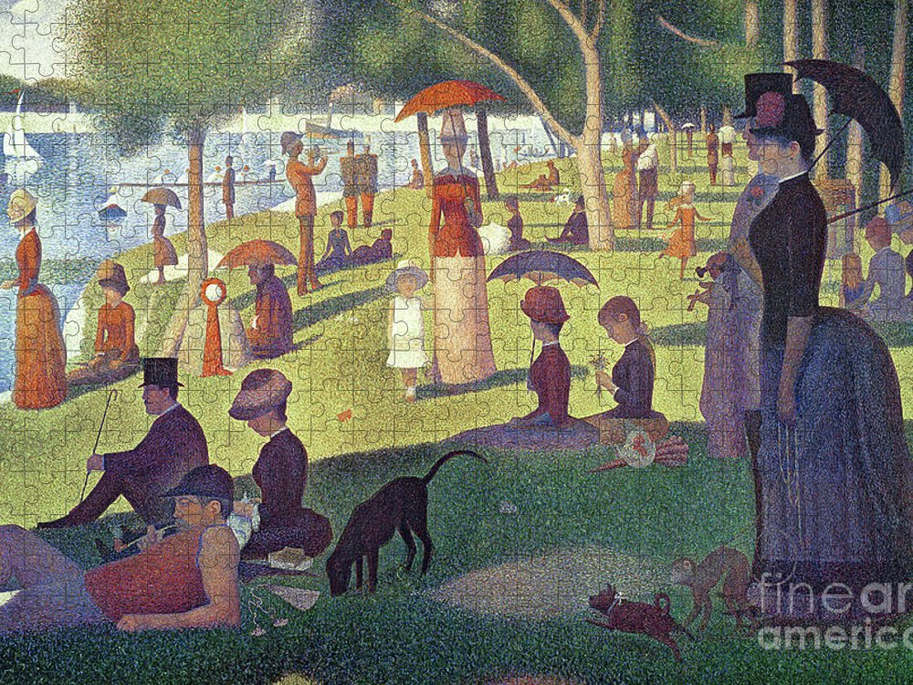 Sunday Afternoon On The Island Of La Grande Jatte Puzzle featuring the painting Sunday Afternoon on the Island of La Grande Jatte by Georges Pierre Seurat