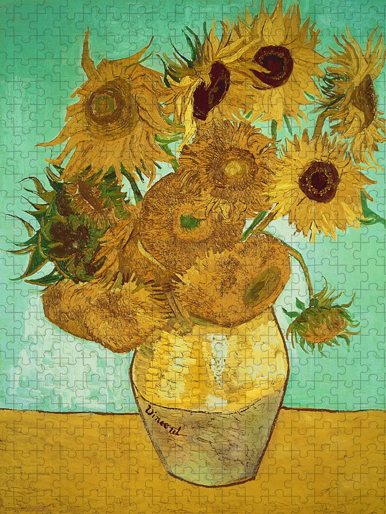 Sunflowers Puzzle featuring the painting Sunflowers by Van Gogh by Vincent Van Gogh