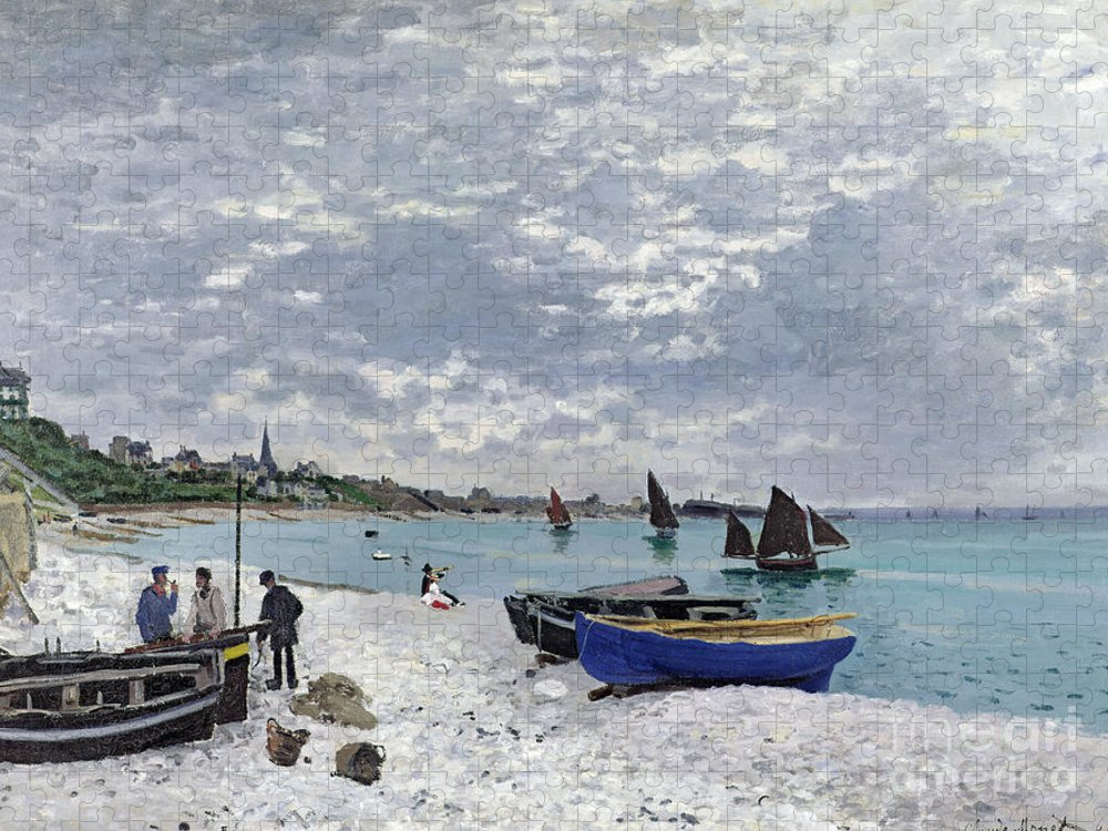 Coastal;french;rowing Boat;sailing;sainte Adresse; Boats Puzzle featuring the painting The Beach at Sainte Adresse by Claude Monet