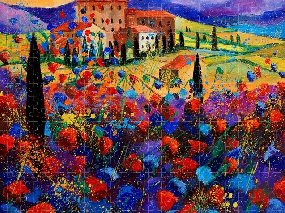Flowers Puzzle featuring the painting Tuscany poppies by Pol Ledent