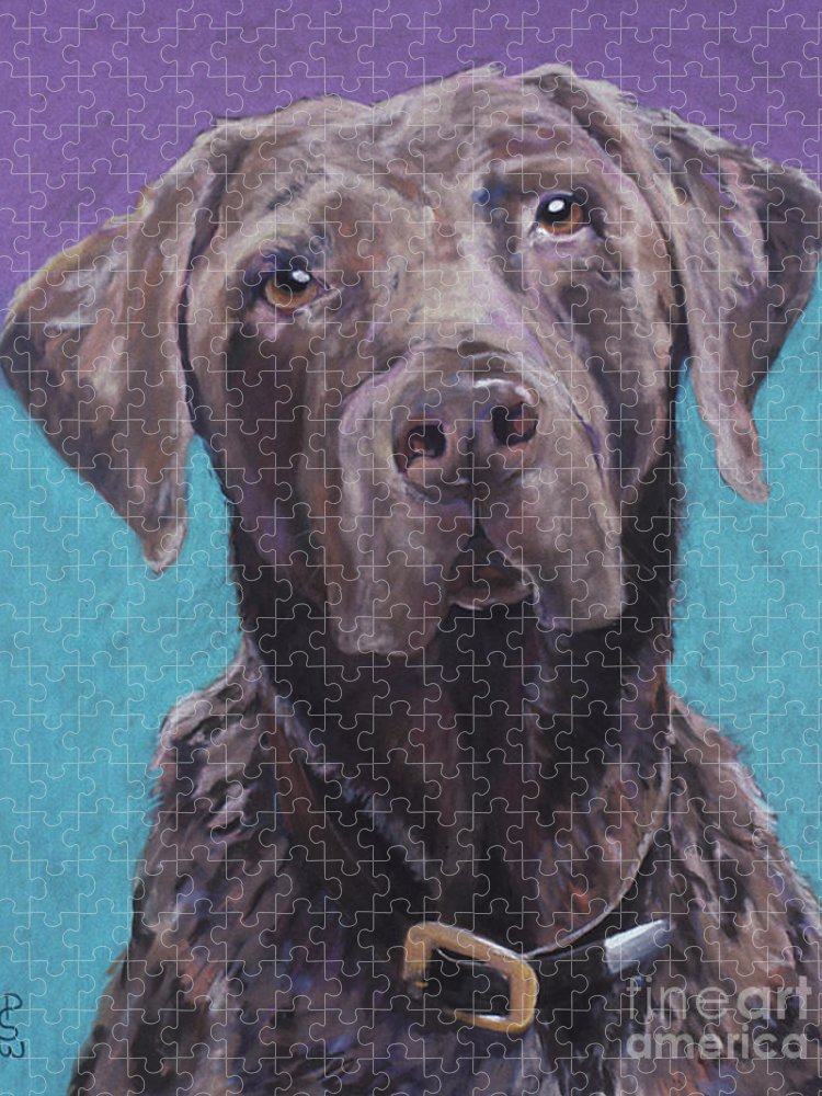 Pet Portrait Commissions Puzzle featuring the pastel Max by Pat Saunders-White