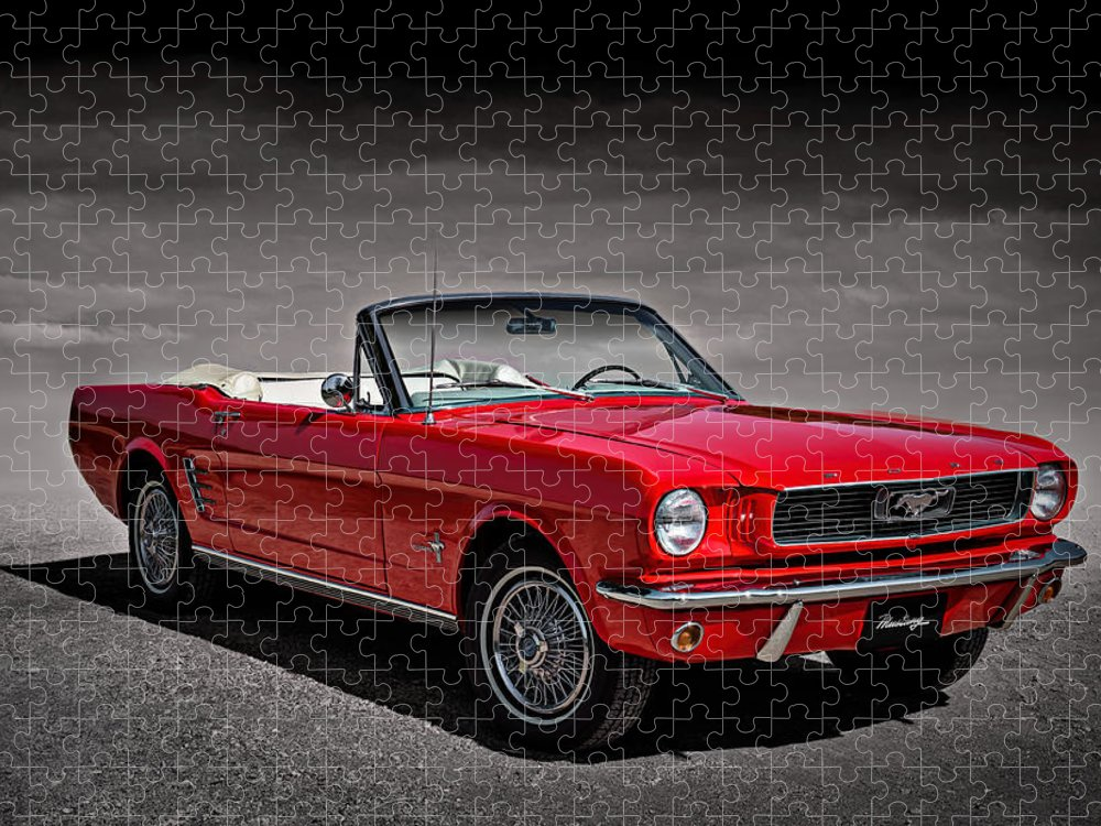 Mustang Puzzle featuring the digital art 1966 Ford Mustang Convertible by Douglas Pittman