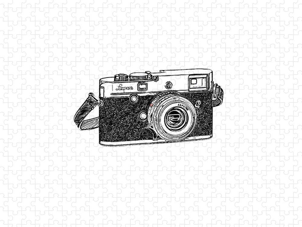 Analog Puzzle featuring the digital art Rangefinder Camera by Setsiri Silapasuwanchai