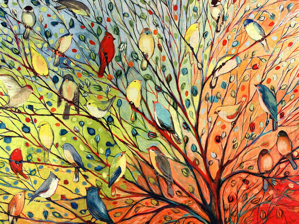 Bird Puzzle featuring the painting 27 Birds by Jennifer Lommers