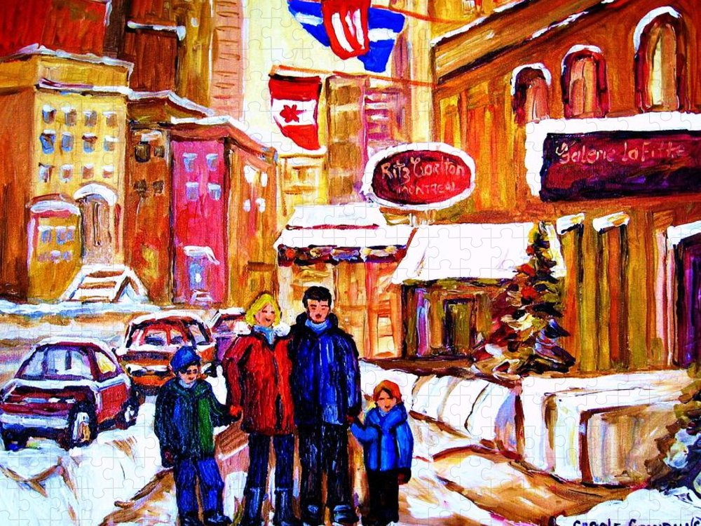 Montreal Puzzle featuring the painting Montreal Street In Winter by Carole Spandau