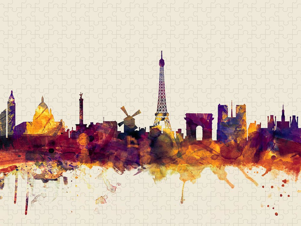 Paris Puzzle featuring the digital art Paris France Skyline by Michael Tompsett