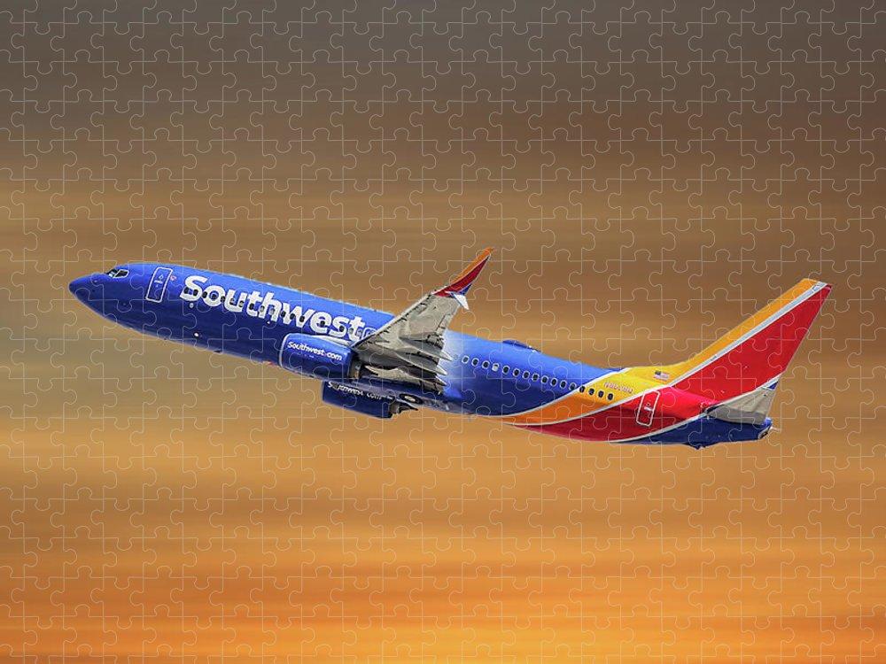 Southwest Airlines  737 over Denver Art Throw Blanket