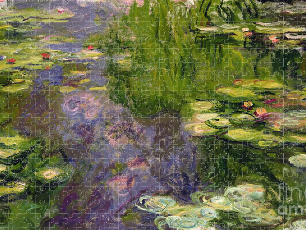 Nympheas; Water; Lily; Waterlily; Impressionist; Green; Purple Puzzle featuring the painting Waterlilies by Claude Monet