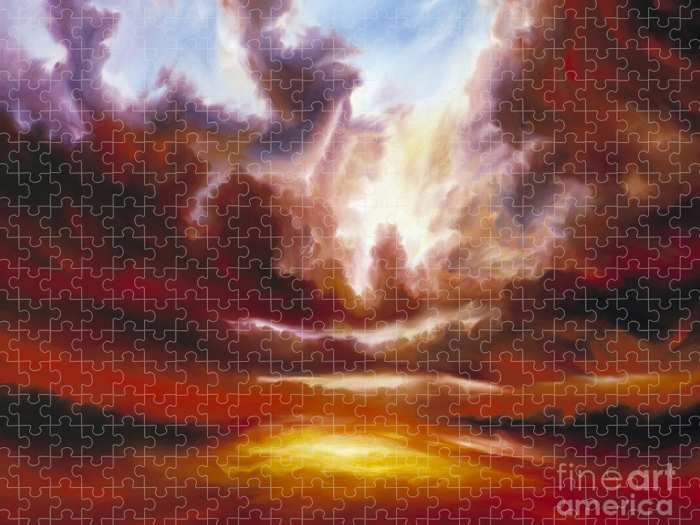 Tempest Puzzle featuring the painting A Cosmic Storm - Genesis V by James Christopher Hill