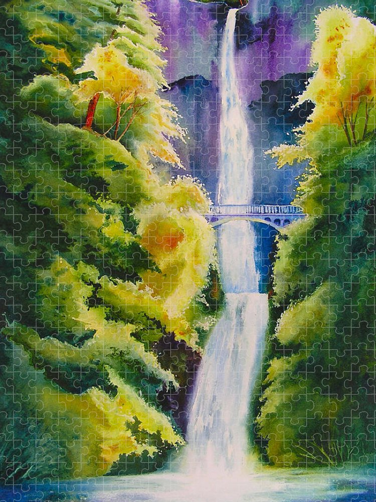 Waterfall Puzzle featuring the painting A Favorite Place by Karen Stark