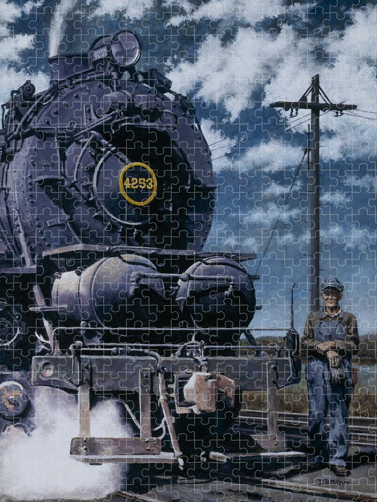 Trains Puzzle featuring the painting A Man and His Machine by David Mittner