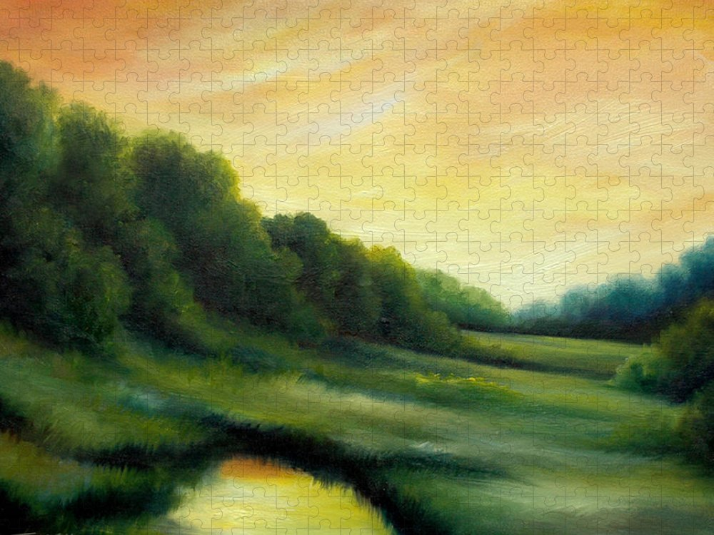 Clouds Puzzle featuring the painting A Spring Evening Part Two by James Christopher Hill