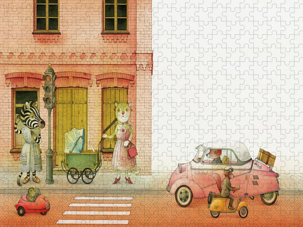 Striped Zebra Cat Cars Street Traffic Old Town Red Children Illustration Book Animals Puzzle featuring the drawing A Striped Story02 by Kestutis Kasparavicius