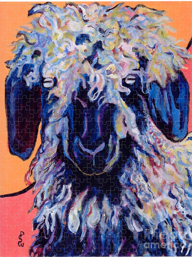 Goat Print Puzzle featuring the painting Adelita  by Pat Saunders-White