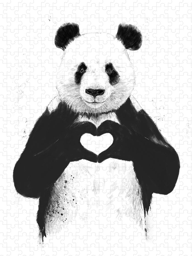 Panda Puzzle featuring the painting All you need is love by Balazs Solti