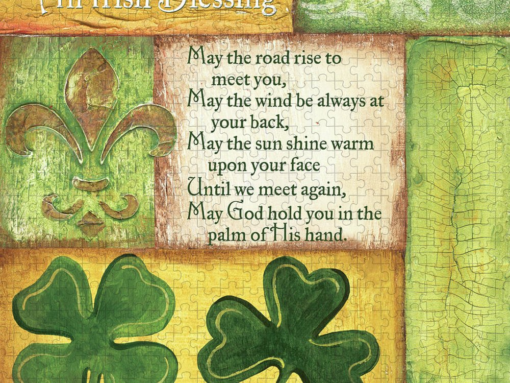 Irish Puzzle featuring the painting An Irish Blessing by Debbie DeWitt