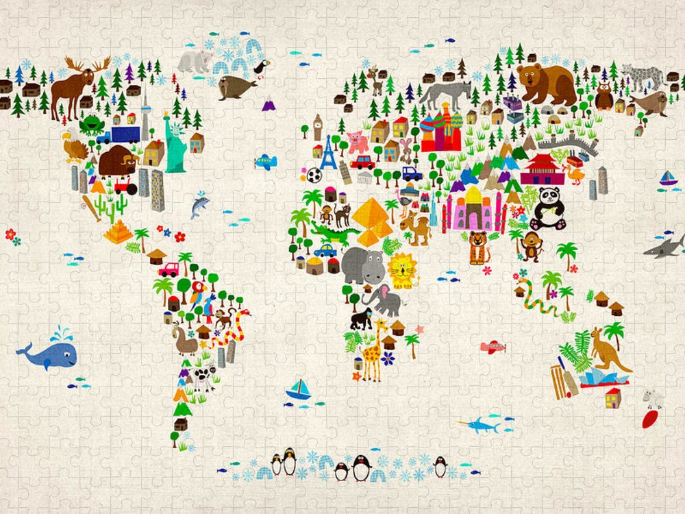 Map Of The World Puzzle featuring the digital art Animal Map of the World for children and kids by Michael Tompsett