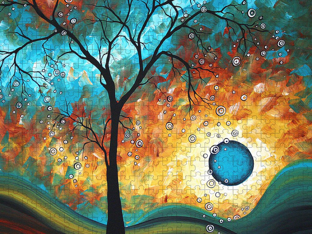 Art Puzzle featuring the painting Aqua Burn by MADART by Megan Duncanson