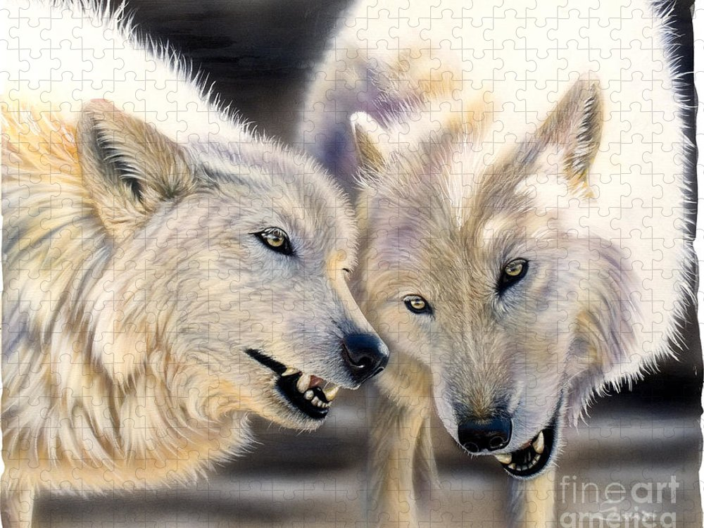 Acrylics Puzzle featuring the painting Arctic Pair by Sandi Baker