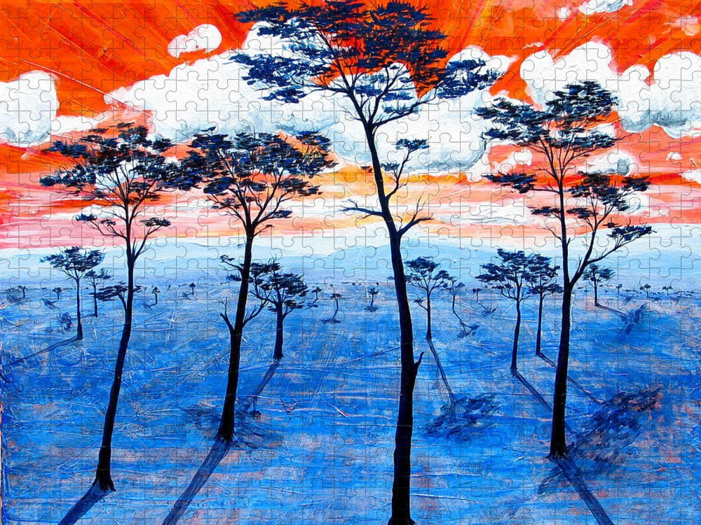 Landscape Puzzle featuring the painting As It Was In The Beginning by Rollin Kocsis