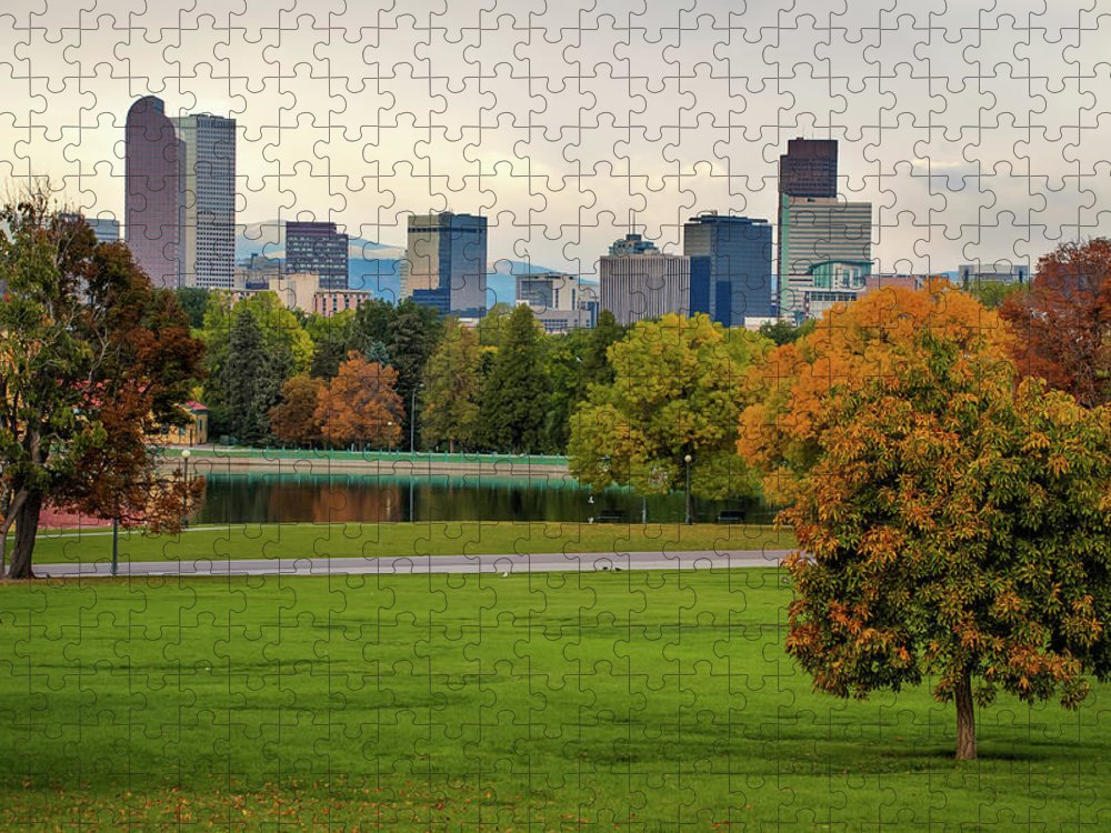 Autumn Denver Skyline Mile High City View Puzzle For Sale By Gregory Ballos