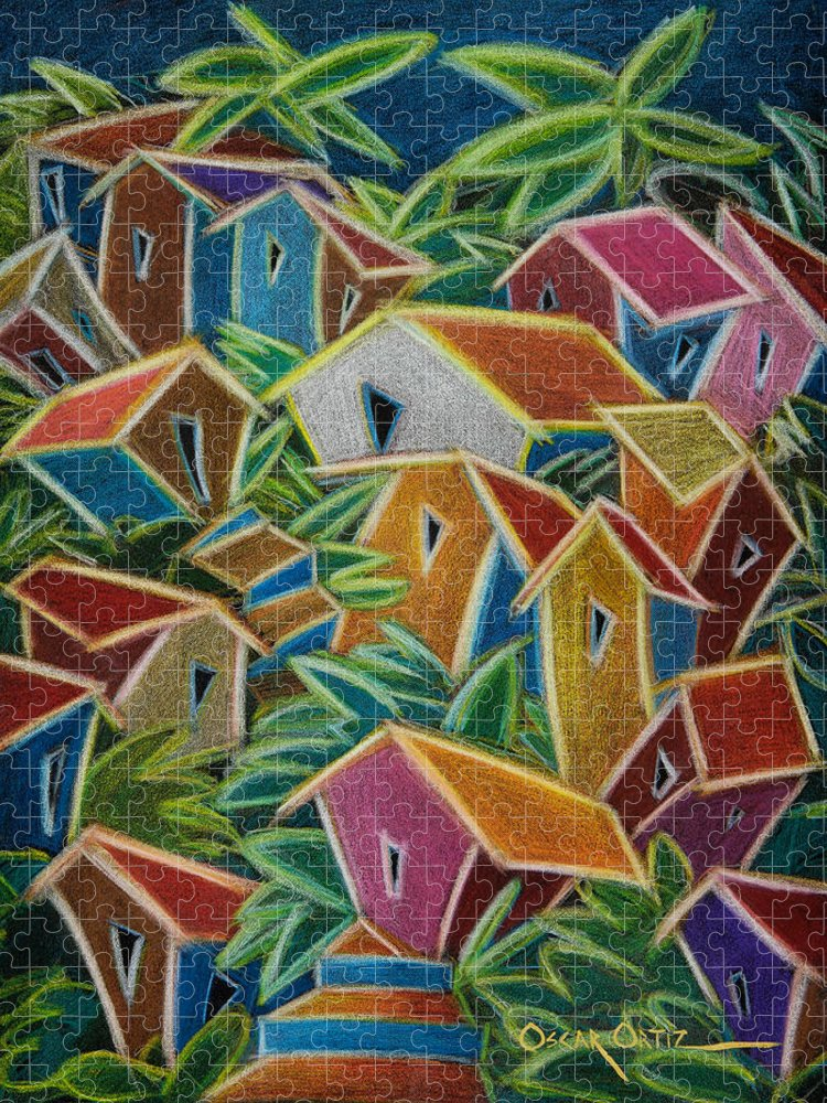 Landscape Puzzle featuring the painting Barrio Lindo by Oscar Ortiz