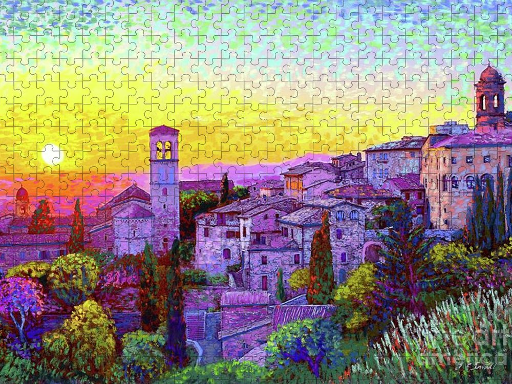 Italy Puzzle featuring the painting Basilica of St. Francis of Assisi by Jane Small