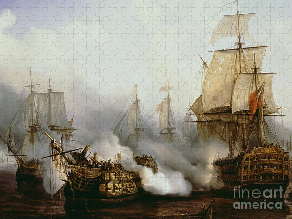 Battle Of Trafalgar By Louis Philippe Crepin Puzzle featuring the painting Battle of Trafalgar by Louis Philippe Crepin