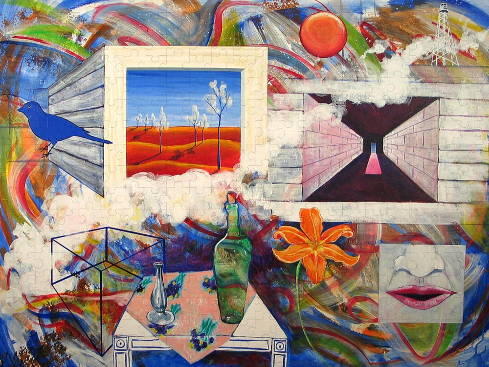 Landscape Puzzle featuring the painting Be Here Now by Rollin Kocsis