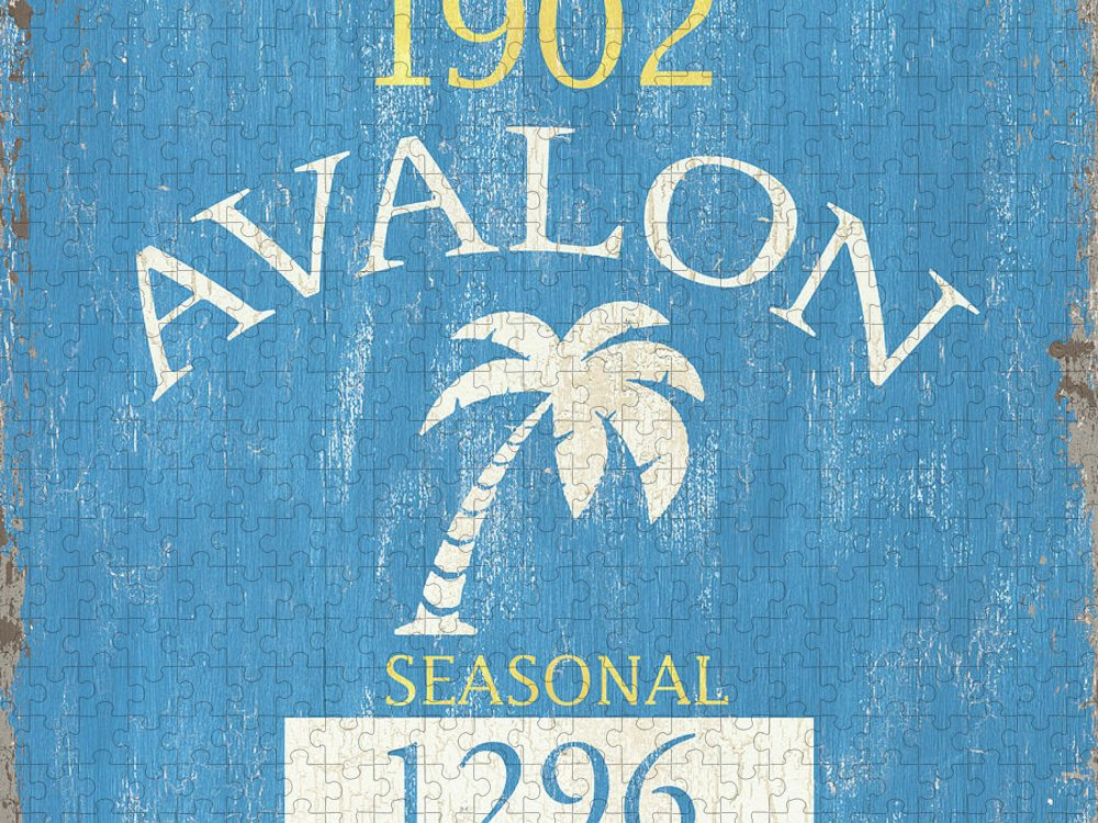 Beach Puzzle featuring the painting Beach Badge Avalon by Debbie DeWitt
