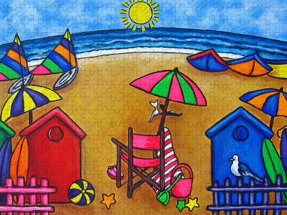 Beach Puzzle featuring the painting Beach Colours by Lisa Lorenz
