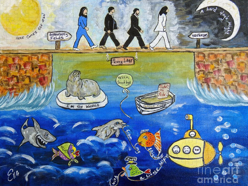 The Beatles Puzzle featuring the painting Beatles Song Titles Original Painting Characterization by Ella Kaye Dickey
