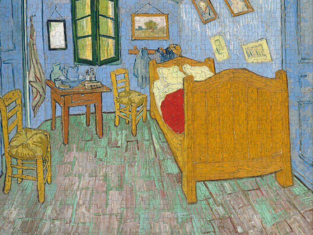 Bedroom At Arles Puzzle featuring the painting Bedroom At Arles by Van Gogh