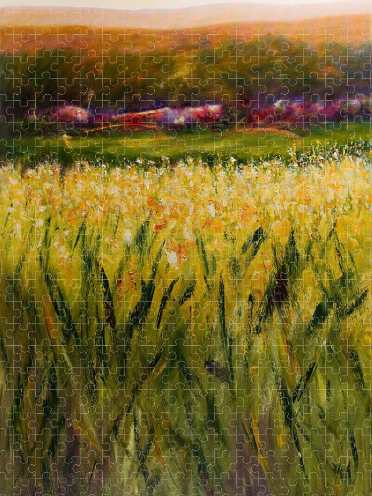 Landscape Puzzle featuring the painting Beyond The Valley by Shannon Grissom