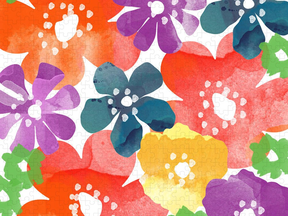 Flowers Puzzle featuring the painting Big Bright Flowers by Linda Woods