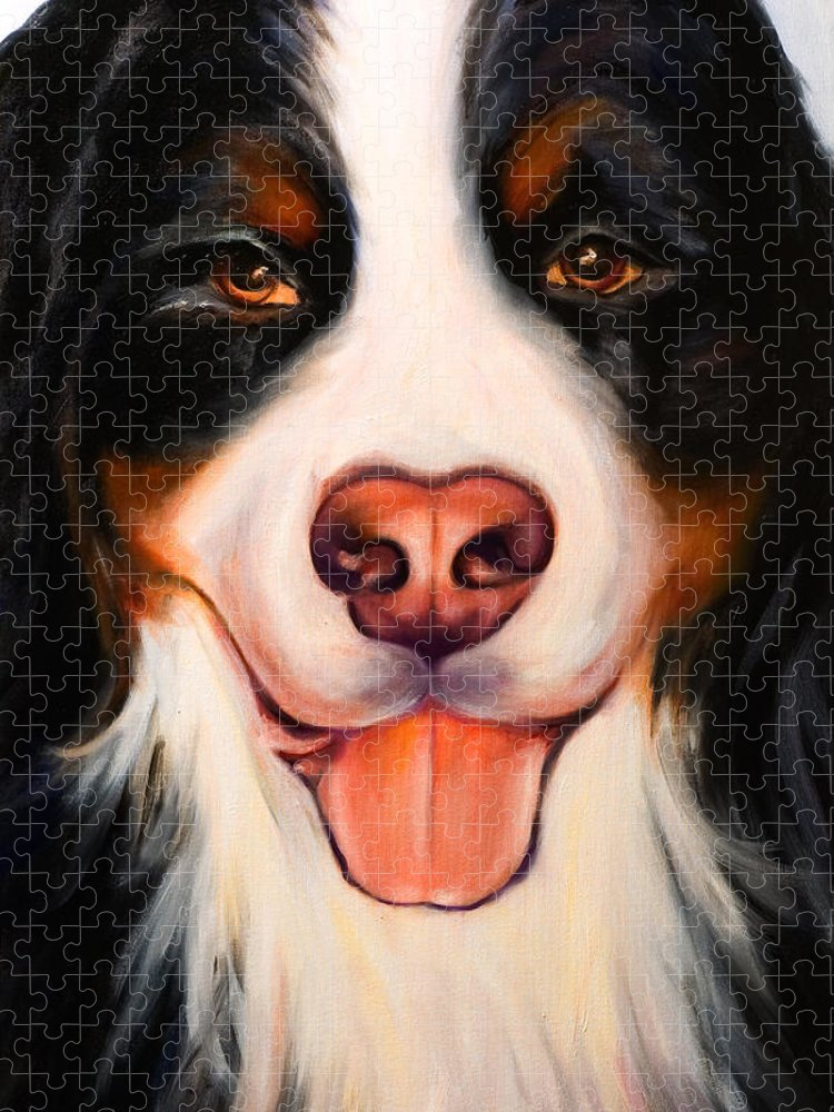 Dog Puzzle featuring the painting Big Willie by Shannon Grissom